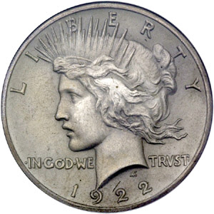 1922 Peace Dollar Front Image